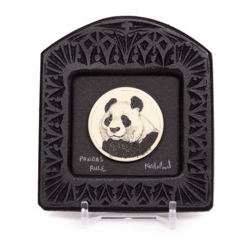 """Pandas Rule"" Small Chip Carved Frame"