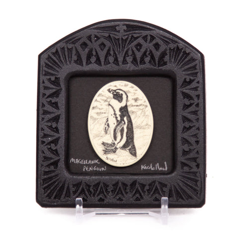 """Magellanic Penguin"" Small Chip Carved Frame"