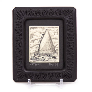 """Cat Boat"" Small Chip Carved Frame"