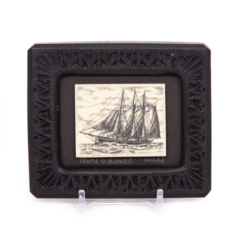 """Triple Schooner"" Small Chip Carved Frame"
