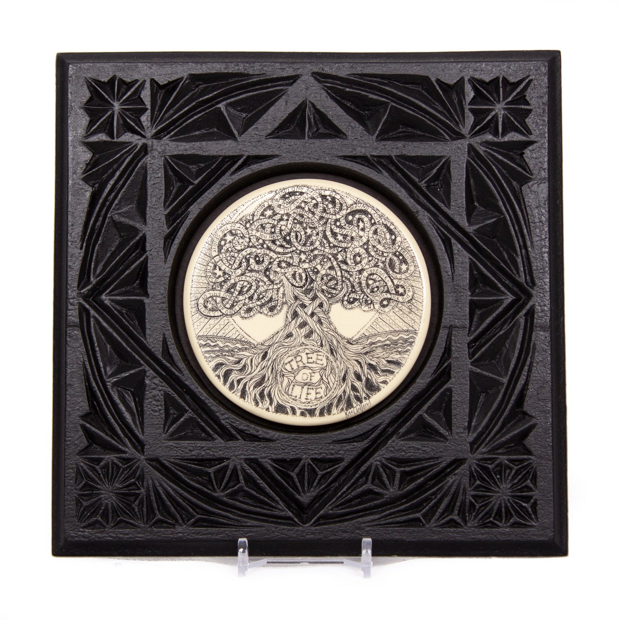 """Tree of Life Word Stream"" Large Chip Carved Frame"
