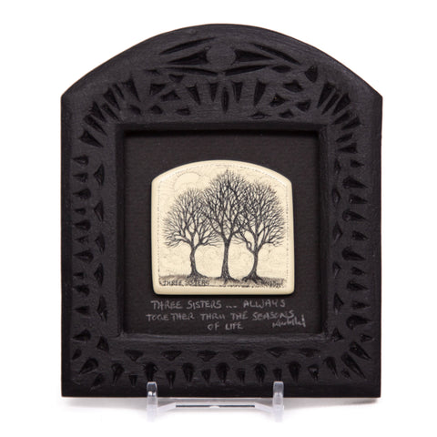"""Three Sisters... Always Together Through the Seasons of Life"" Small Chip Carved Frame"