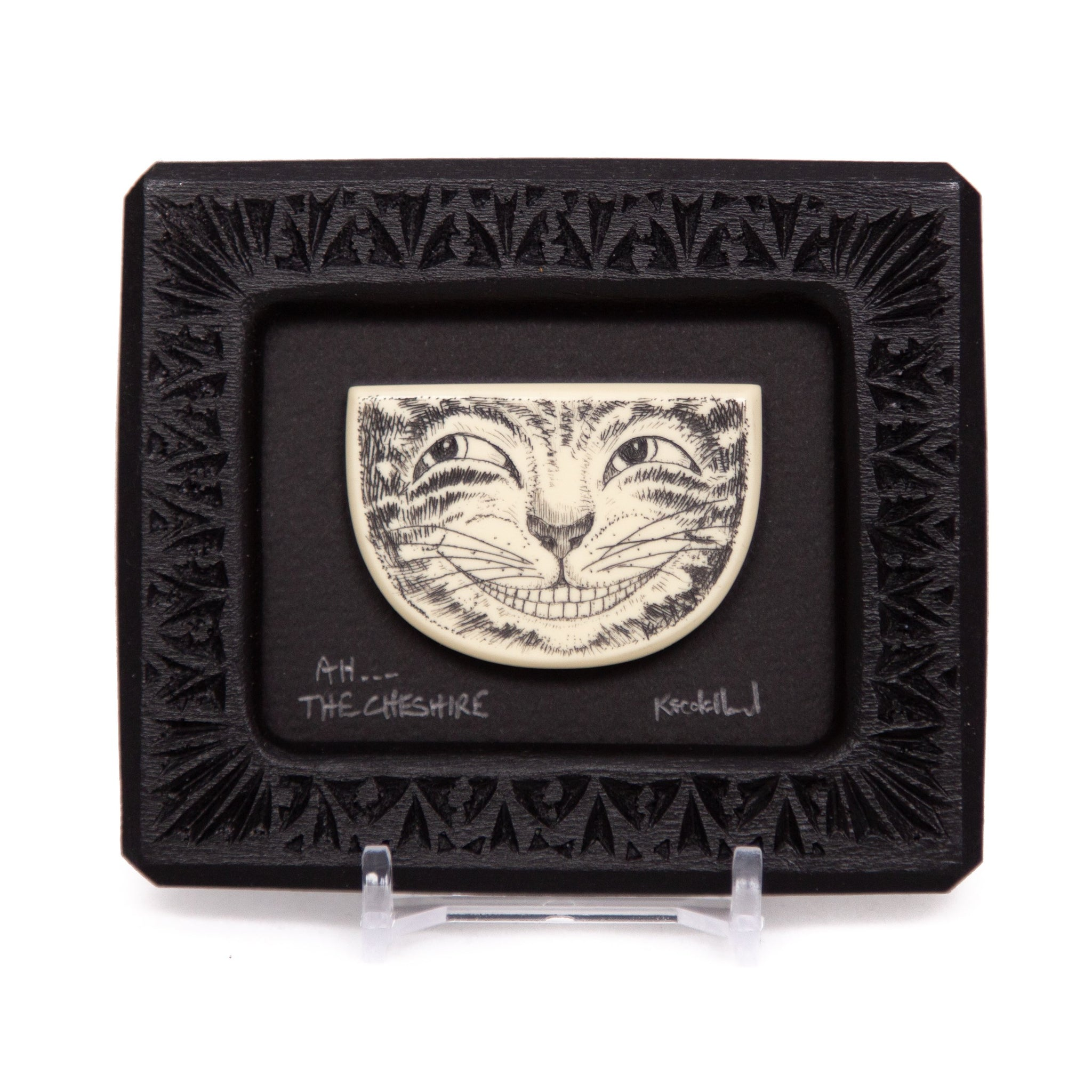"""Ah... The Cheshire"" Small Chip Carved Frame"