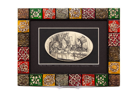 """The Tea Party... Alice, March Hare, Dormouse & Mad Hatter"" Painted Mosaic Wood Frame"