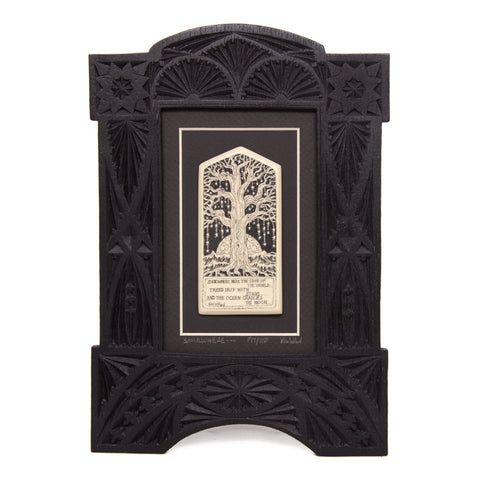 """Somewhere Near the Edge of the World... Trees Drip with Stars... And the Ocean Cradles the Moon"" Large Chip Carved Frame"