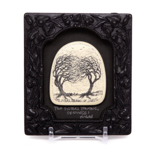 """Two Sisters Talking, of Course"" Small Chip Carved Frame"