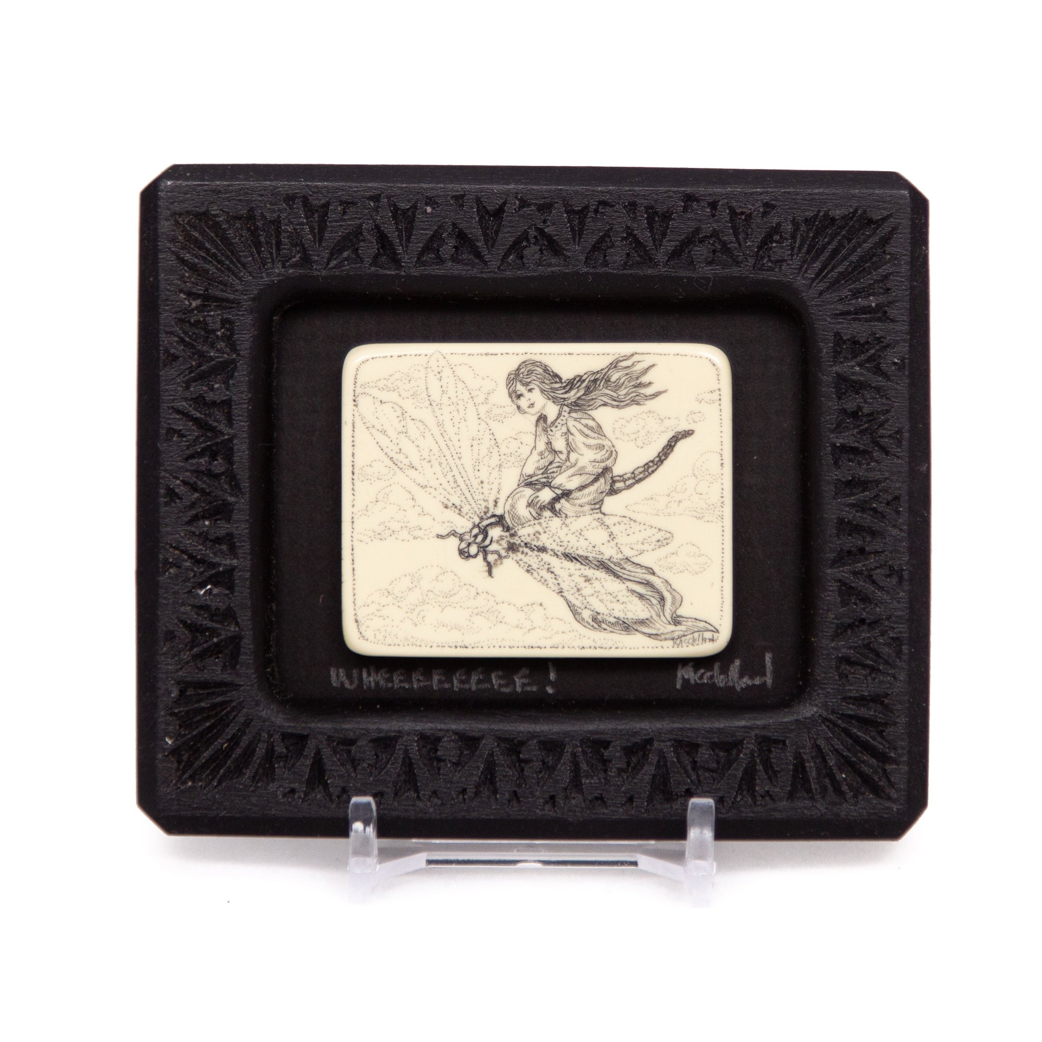 """Wheeeeeeee!"" Small Chip Carved Frame"