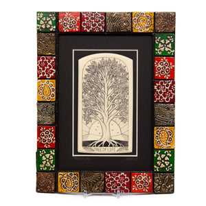 """Tree of Life"" Painted Mosaic Wood Frame"
