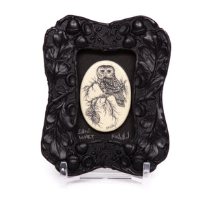 """Saw-Whet Owl"" Mini Chip Carved Frame"
