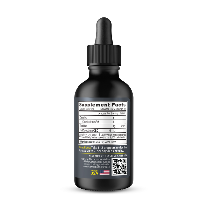 THC Free CBD Tincture (1000mg CBD) - 1oz Bottle
