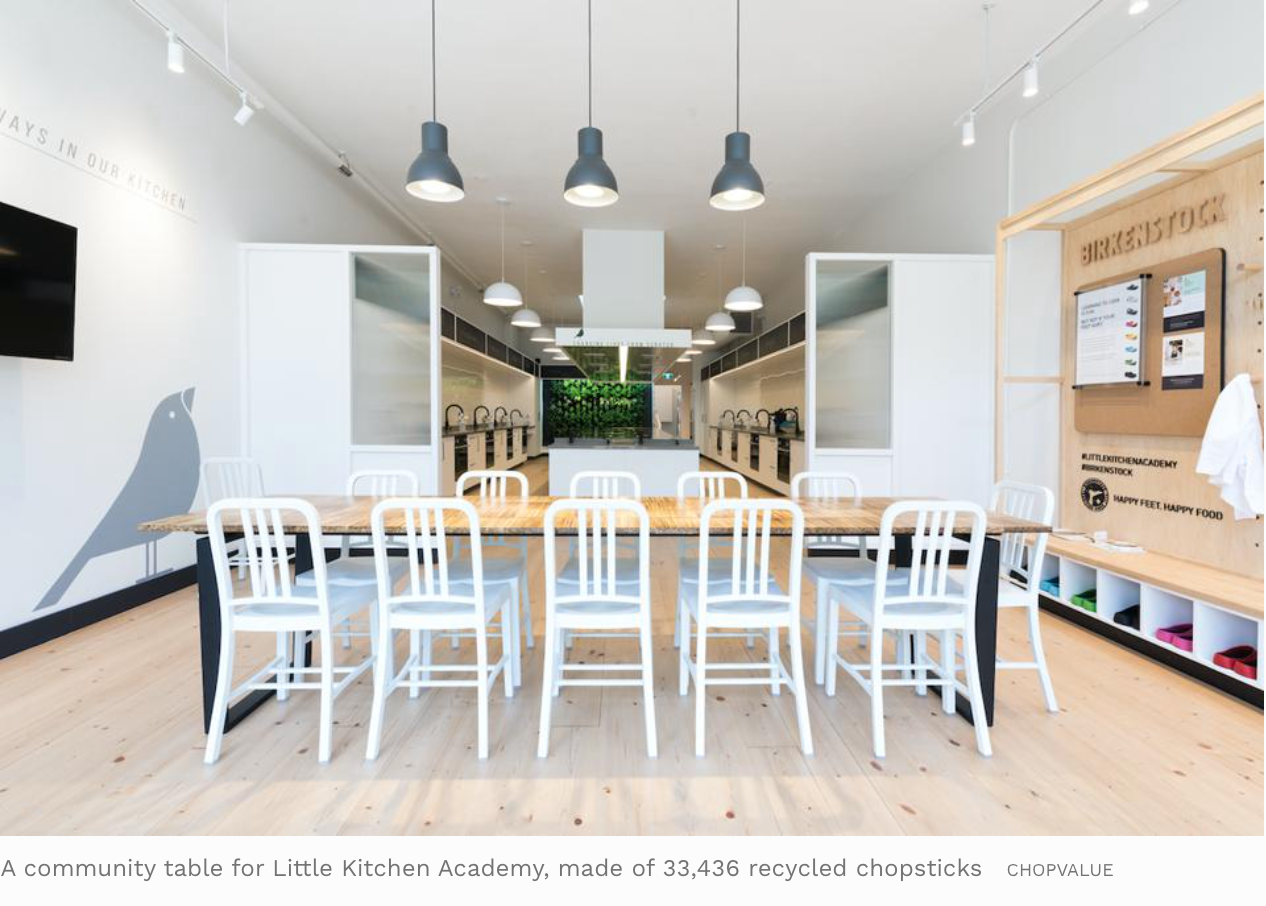 A community table for Little Kitchen Academy, made of 33,436 recycled chopsticks
