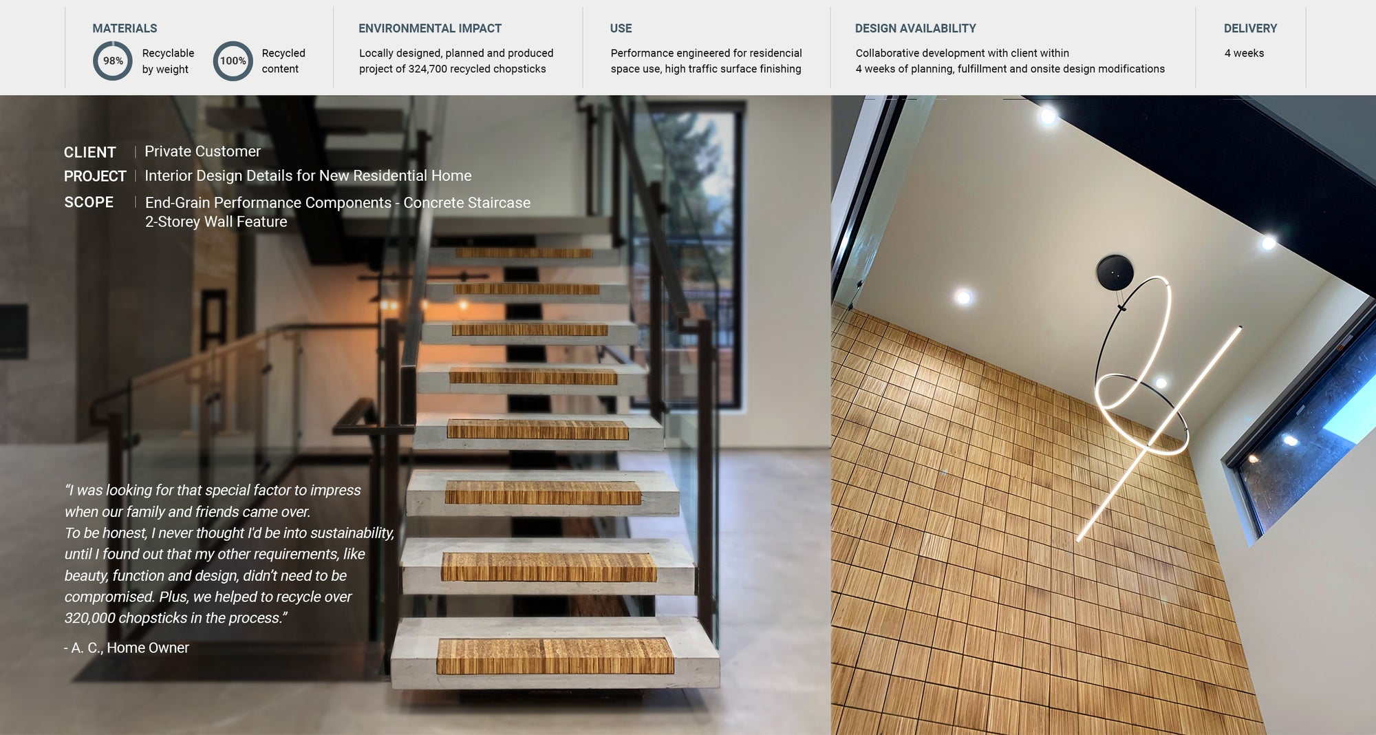End-grain staircase and eco-friendly wall tiles for residential home