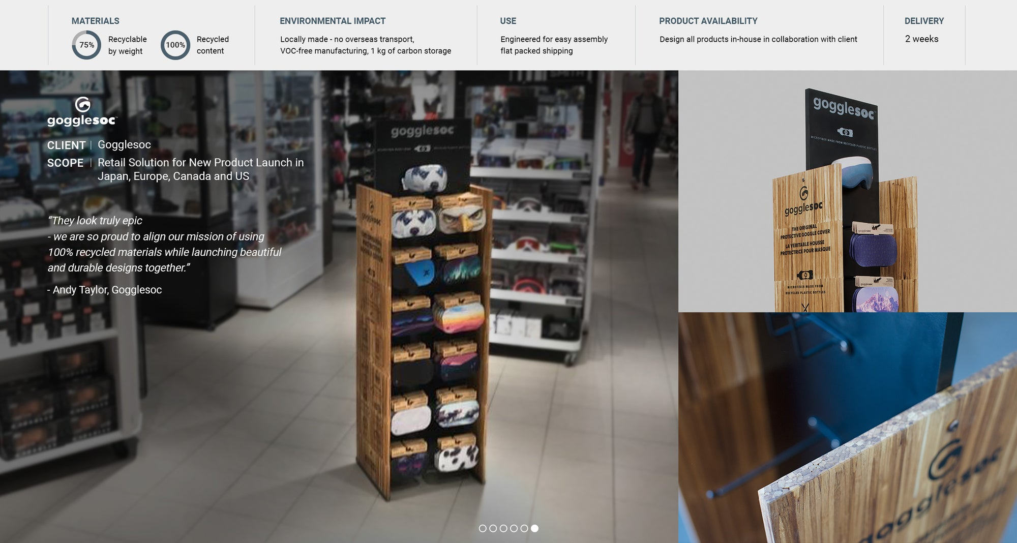 Sustainable retail display units for Gogglesoc