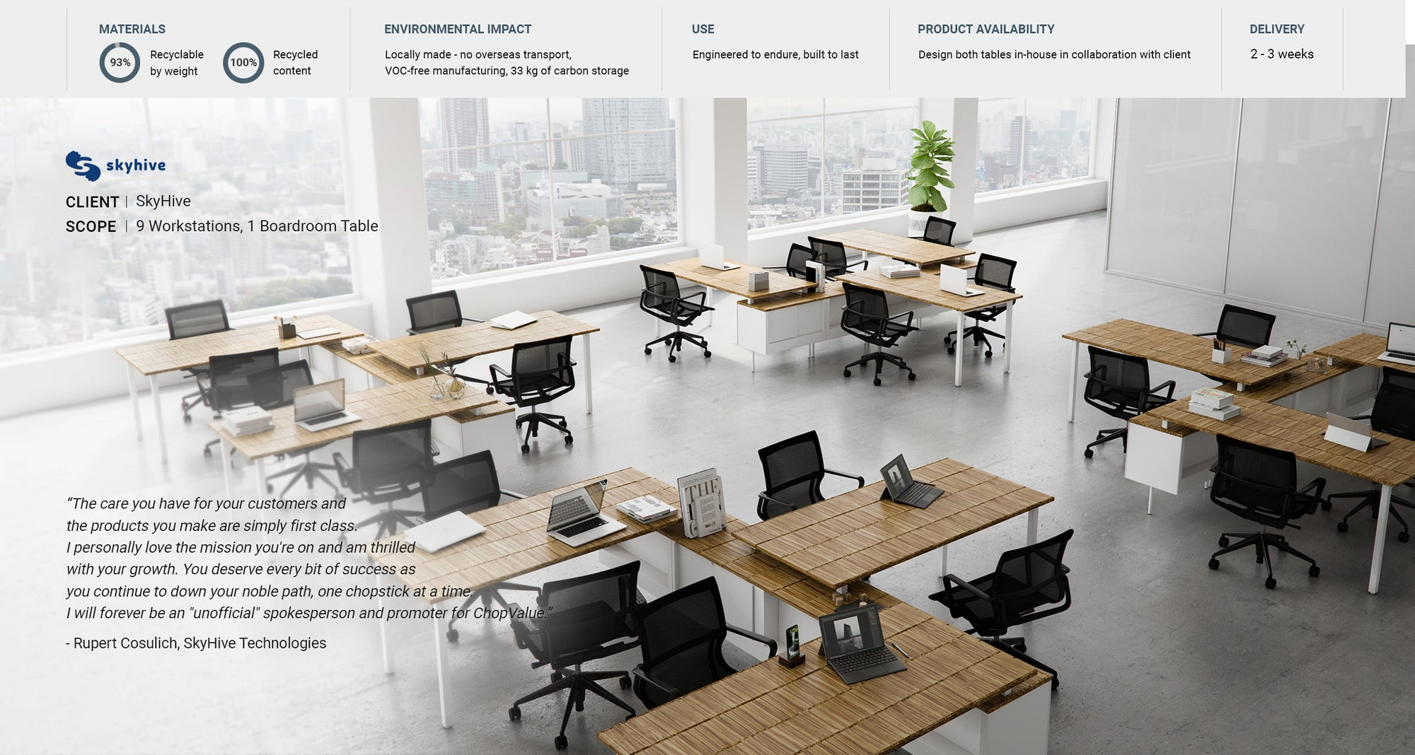 Sustainable height adjustable workstations on a large scale for SkyHive offices