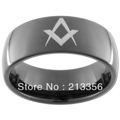 10PCS/LOT FREE SHIPPING!USA WHOLESALES CHEAP PRICE 8MM WOMEN&MENS HIS/HER BLACK DOME CLASSIC MASONIC FREEMASON TUNGSTEN RINGS
