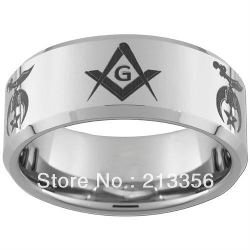 10PCS/LOT FREE SHIPPING!USA WHOLESALES CHEAP PRICE 8MM WOMEN&MENS HIS/HER SILVER BEVELED MASONIC SHRINERS TUNGSTEN MASON RINGS