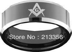 10PCS/LOT WHOLESALE CHEAP PRICE Mens Black Tungsten Carbide Wedding Band Ring Freemason Masonic Silver Beveled Edges Comfort Fit