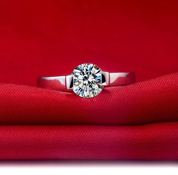 1Carat Sterling Gold 750 Round Perfect G-H Color Moissanite Anniversary Ring For Women Free Maintenance Service All Life
