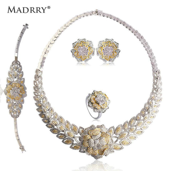 Madrry Newest Bridal Wedding Jewelry Sets Copper 2 Colors Metal Pave Setting Zircon Necklace Earring Bracelet Ring For Women