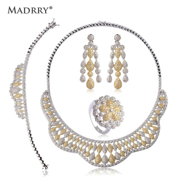 Madrry Double Colors Bridal Wedding Jewelry Sets Copper Metal Full Zircons Choker Women Necklace Earring Bracelet Ring 4 pcs