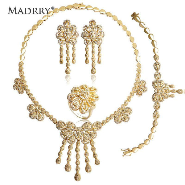 Madrry Gold Color Bridal Wedding Jewelry Sets Copper Metal AAA Zircon Necklace Earring Bracelet Ring For Women Anniversary Gift