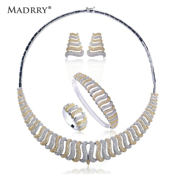 Madrry Luxury Copper Bridal Wedding Jewelry Sets 2 Colors Necklace Earrings Ring Bracelet Women Collier Brincos Anillo Schmuck