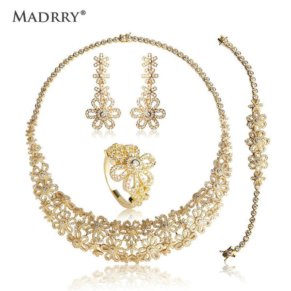 Madrry Classic Bridal Wedding Jewelry Sets Copper Metal Zircon Micro Paved Women Necklace Earring Bracelet Ring 4 Pc Engagement
