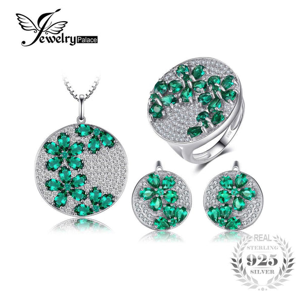 Jewelrypalace Created Emerald Jewelry Set Genuine 925 Sterling Silver Ring Necklace Pendant Earring Women Bridal Jewelry