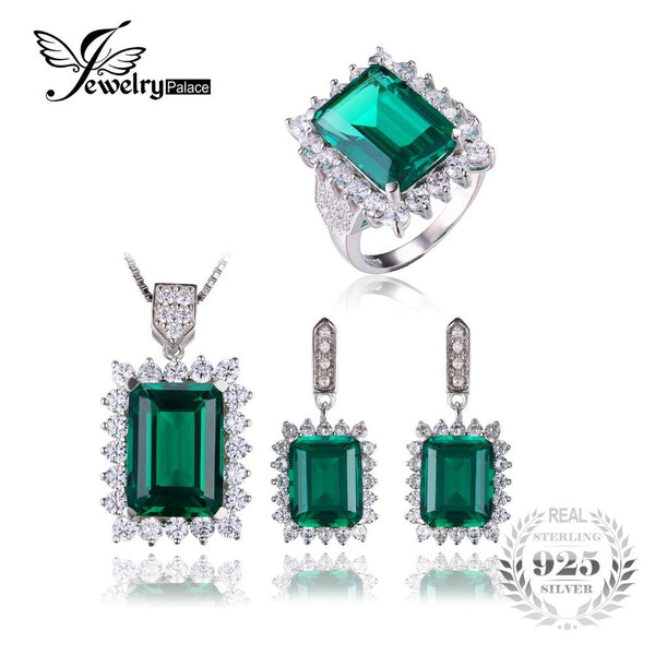 Created Emerald Jewelry Set  Solid 925 Sterling Silver Ring Necklace Pendant Earring Clip Bracelet Women Bridal Jewelry Set