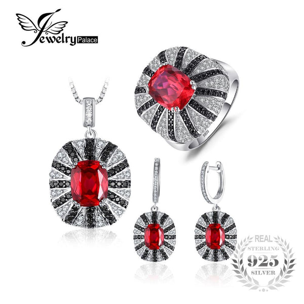 Jewelrypalace Luxury  Created Ruby Spinel Jewelry Set 925 Sterling Silver Ring 45cm Pendant Earring Clip Bridal Jewelry Set