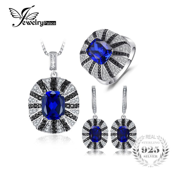 Jewelrypalace Luxury Unique Women Spinel Cocktail Ring Pendant Earrings Blue Sapphire Jewelry Sets 925 Sterling Silver New Retro