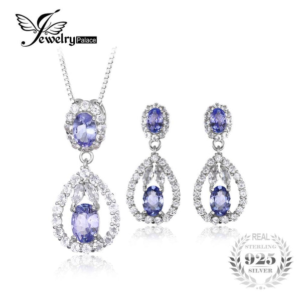 JewelryPalace Elegant 5ct Natural Tanzanite White Topaz Drop Dangle Earrings Pendant Necklace 925 Sterling Silver Jewelry