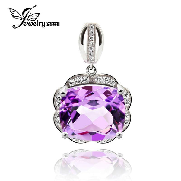 Genuine Octagon Amethyst Gemstone Pendant Halo Shining Cubic Zirconia Around Solid 925 Sterling Silver Fine Jewelry For Lovers