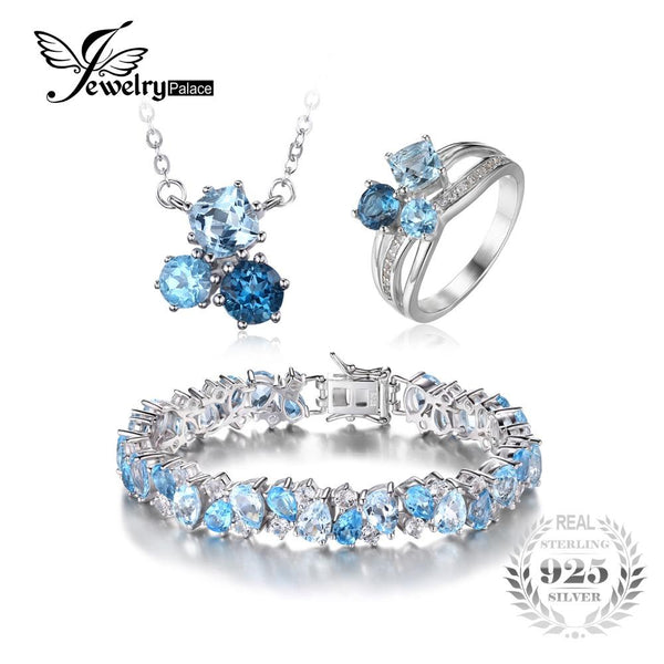 JewelryPalace 26.82ct Genuine Multi London Blue Topaz 3 Stones Ring Pendant Necklace Link Tennis Bracelet 925 Sterling Silver