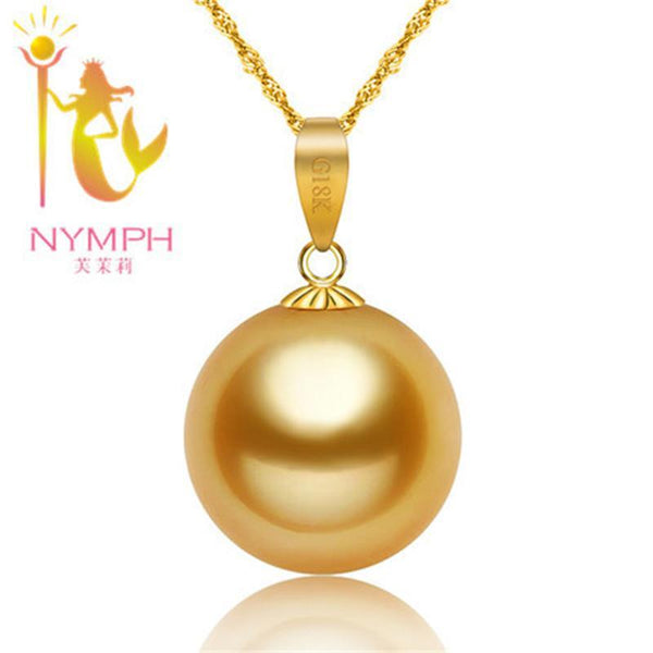 NYMPH Fine jewelry AU750 Natural southsea pearls  Pendant luxurious 18K gold accessory and sent silver chain Dg01
