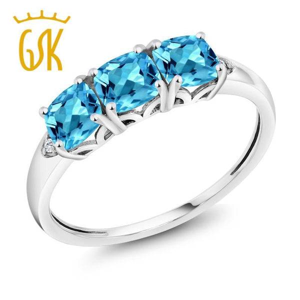 GemStoneKing 10K White Gold Fine Jewelry 1.96 Ct Cushion Natural  Blue Topaz and Diamond 3-Stone Engagement  Rings For Women