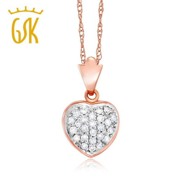"GemStoneKing Natural White Diamond 0.5"" Heart Shape Pendant Necklace Solid 18K Rose Gold Fine Jewelry For Women"