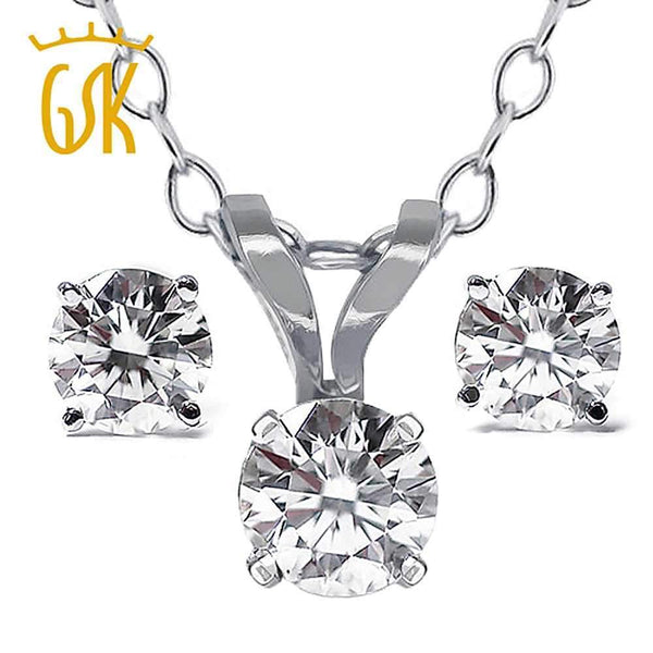 GemStoneKing Diamond-Jewelry 14K White Gold Pendant and Earrings Necklace Set  0.65 Ct Natural Diamond Jewelry Sets For Women