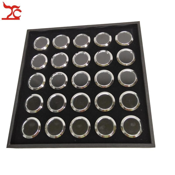 Black 25 Cells Round Diamond Gemstone Tray With 25 Pcs Loose Round Metal Gem Stone Display Beads Pear Storage Collection Box