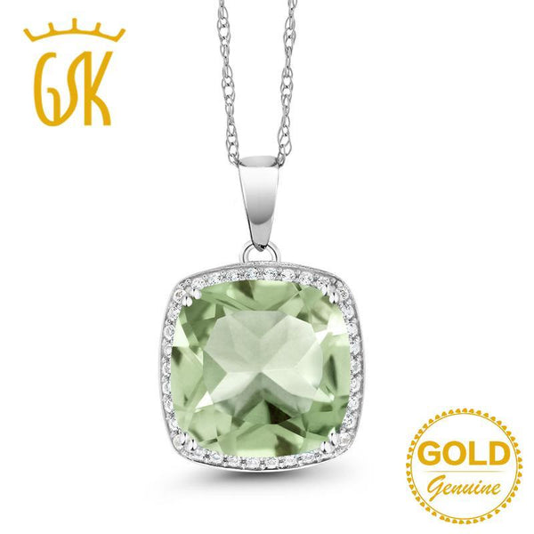 GemStoneKing 6.74 Ct Cushion Natural Green Amethyst White Diamond Pendant Necklace 10K White Gold Fine Jewelry For Women