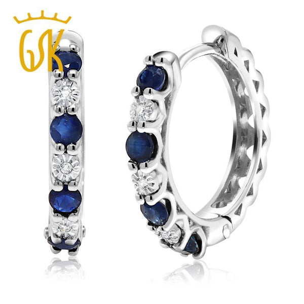 Diamond Jewelry  GemStoneKing Solid 10K White Gold 0.42 Cttw Natural White Diamond & Sapphire Hoop Earrings For Women