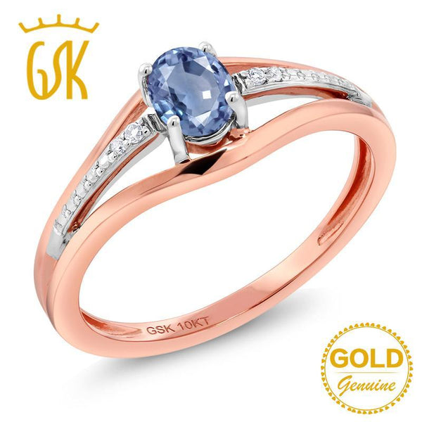 GemStoneKing 0.43 Ct Natural Blue Sapphire Diamond Engagement Wedding Rings 10K Two Tone Gold Fine Jewelry For Women