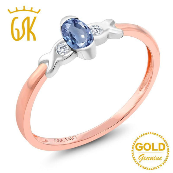 GemStoneKing 0.28 Ct Natural Blue Sapphire and Diamond Engagement Ring 14K Two Tone Gold Fine Jewelry For Women
