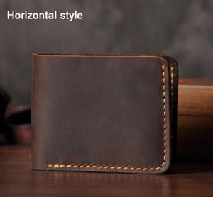 Handmade Vintage Crazy horse Genuine Leather Wallet