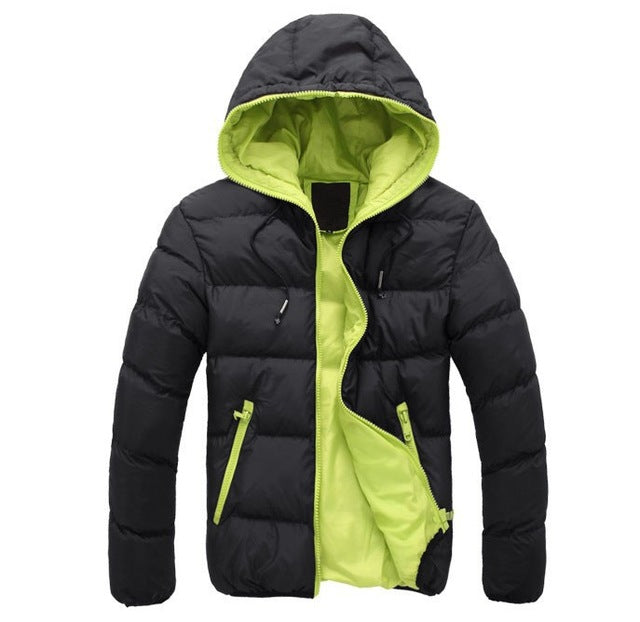 Winter Coat Men Casual Hoodied Patchwork Cotton Padding Parka Men