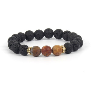 Trendy Bracelets 14 Colors Lava Stone Bracelet Luxury Brand Men Jewelry