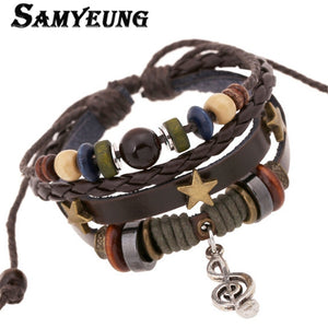 Vintage Leather Braided Wrist Band Bracelets Men Bracelets For Men Women