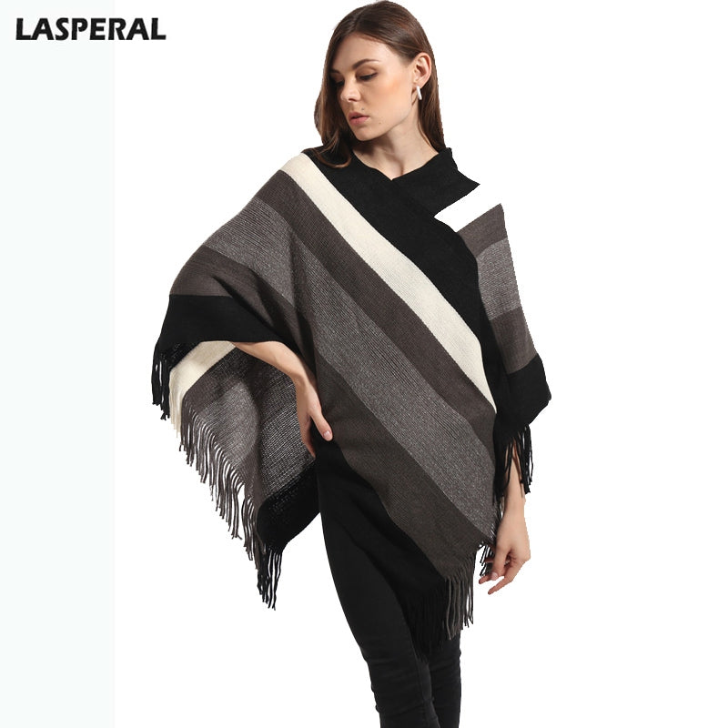 Winter Fashion Pashmina Scarf Women Knitt Poncho Capes Shawl