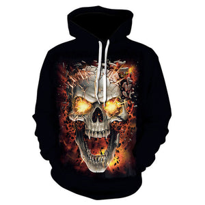 Skull Hoodies Men Women 2018 New Fashion Long Sleeve Spring Autumn
