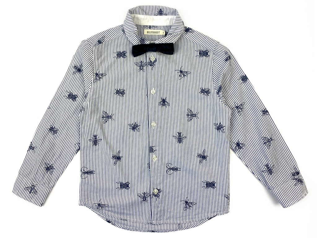 Billy Bandit bee print shirt with black bow tie - 4 yrs